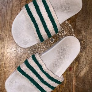White and Green Adidas (Slides) Slide Sandals Soft